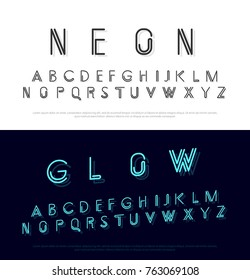 neon modern font and alphabet minimal style design concept. vector illustrator