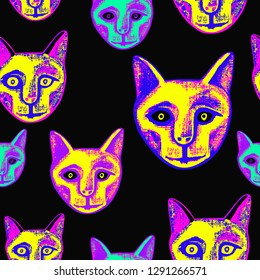 Neon mummified cat. Vector seamless pattern with an ancient Egyptian mummy of a cat.  Hand-drawn  illustration.