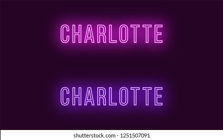 Neon name of Charlotte city in USA. Vector text of Charlotte, Neon inscription with backlight in Thin style, purple and violet colors. Isolated glowing title for decoration. Without overlay mode