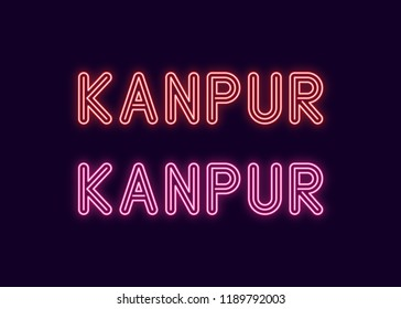 Neon name of Kanpur city in India. Vector illustration of Kanpur inscription in Neon style with backlight, Red and Pink colors. Isolated glowing city for decoration of the Diwali festival