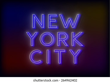 Neon New York City. New York City sign, design for your business. Bright attracts the attention of a luminous sign saying - New York City. Glowing New York City. EPS10 vector image.