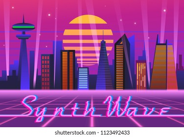 Neon night city in new retro style with glitch.