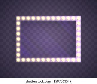 Neon Night frame. Vector 3D light frames. Space for text, advertisement. Vector design element.