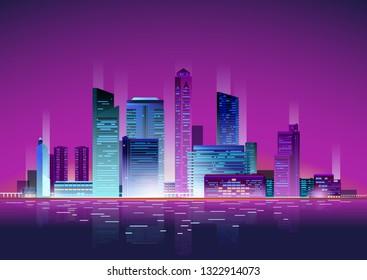 Neon Night Skyscrapers Cityscape vector illustration background. Skyscraper city town business concept.