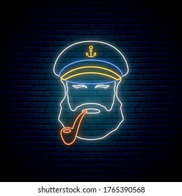 Neon old sailor captain with tobacco pipe. Hipster sailor man. Bright glowing captain emblem. Vector illustration.
