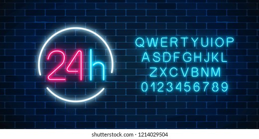 Neon open 24 hours sign in circle frame with alphabet on a brick wall background. Round the clock working bar or store signboard with lettering. Vector illustration.