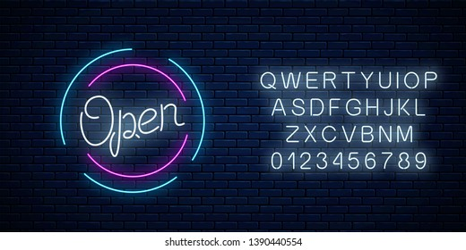 Neon open sign in circle shape with alphabet on a brick wall background. Round the clock working bar or store signboard with lettering. Vector illustration.
