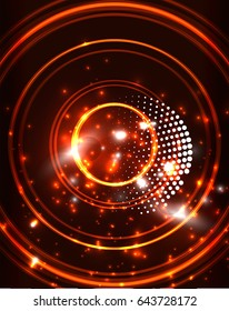 Neon orange circles vector abstract pattern background