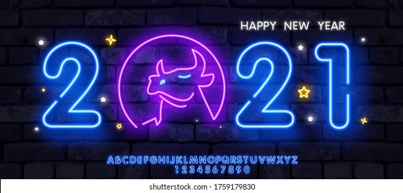 Neon Ox New Year 2021 greeting card - neon blue letters 2021 neon sign, bright signboard, light banner. Logo Bull cow or ox neon, emblem.