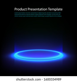 Neon pedestal. Blue glowing ring on glossy floor. Abstract hi-tech background for display product. Vector template.