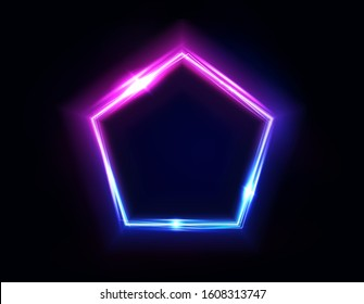 Neon pentagon frame or neon lights sign. Vector abstract background, tunnel, portal. Geometric glow outline pentagon shape or laser glowing lines. Abstract background with space for your text.