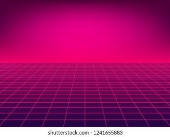 Neon perspective grid. Retro floor background in 80s style.
