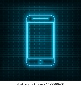 Neon phone icon, blue neon phone on wall background, vector illustration