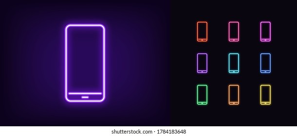 Neon phone icon. Glowing neon cellphone sign, set of isolated smartphone in different vivid colors. Bright icon, sign, symbol for UI design. Mobile device and gadget. Vector illustration