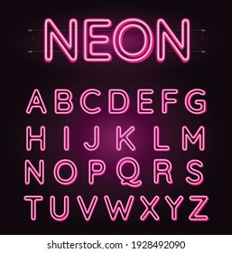 Neon pink font vector illustration. Pink neon light letters. Glowing alphabets. A-Z letters.