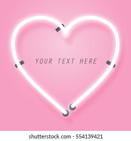 Neon and pink glow effect of love with space for text, valentine's day and romance concept, vector art and illustration.