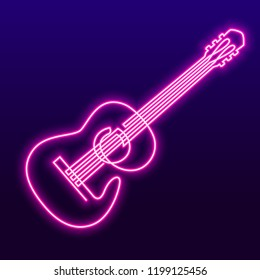 Neon pink light lamp continuous line drawing of acoustic guitar vector. Musical instrument single line for decoration, design, invitation jazz festival, music shop.