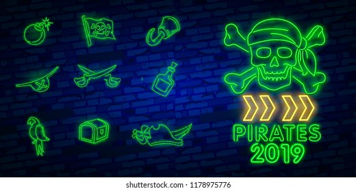 Neon Pirate accessories icons collection. Pitate neon icon, design template, modern trend design, night neon signboardVintage pirate emblem glowing neon