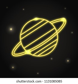 Neon planet Saturn icon in thin line style