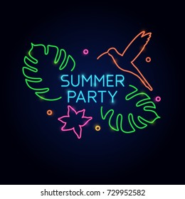 The neon poster summer party. Vector illustration on black background.