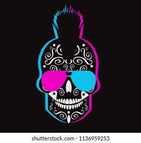8562b818fe46 Punk Skull Middle Finger Mohawk Stock Vector (Royalty Free ...