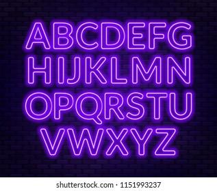 Neon purple alphabet on brick wall background. Capital letter.