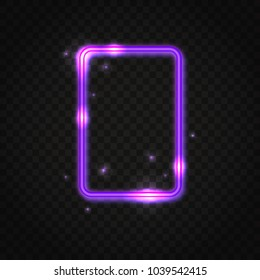 Neon purple rectangle frame with space for text. Abstract electric light background.