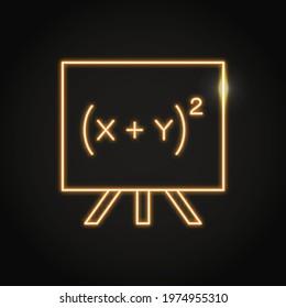 Neon quadratic equation on school board icon. Algebraic formula symbol in line style. Vector illustration.