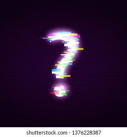 Neon question mark with glitch effect abstract style, vector illustration isolated on black background. Illuminated distorted glitch interrogation mark, modern glowing design element