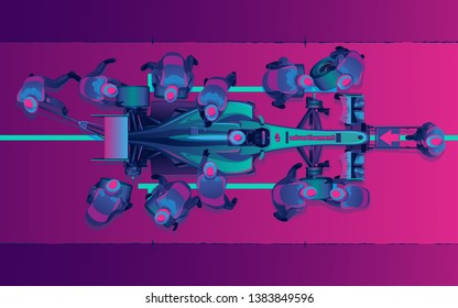 Neon racing car on pit stop with advertizing