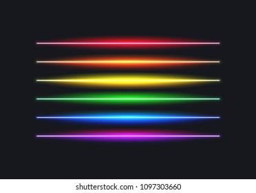 Neon rainbow flag lines for pride month, freedom and equality