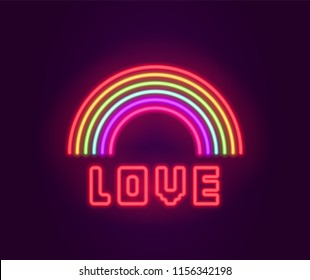 Neon Rainbow Icon sign. Glowing light banner. Night bright signboard. Summer logo, fashion emblem. Club Bar concept on dark background. Editable vector.
