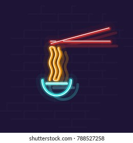 Neon ramen in bowl. Night illuminated wall street sign. Hot food in dark night. Isolated geometric style illustration on brick wall background.