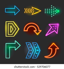 Neon realistic arrows signs, pointer set showing direction vector illustration