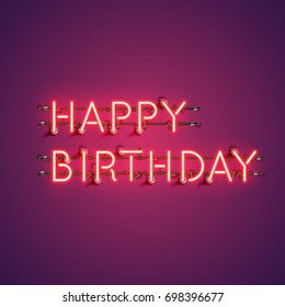 Neon realistic words 'HAPPY BIRTHDAY' for advertising, vector illustration