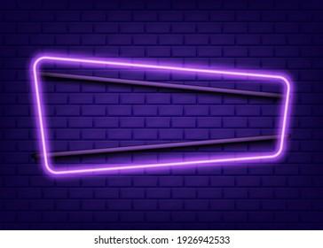 Neon rectangle frame or neon lights sign. Vector illustration. Eps 10.