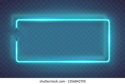 Neon rectangle lamp wall sign isolated on transparent background. Vector blue power glowing bulb banner, light line or neon frame for your design.