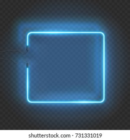 vector square blue icon lighting bulb. Neon Rectangle Lamp Wall Sign Isolated On Transparent Background. Vector Blue Power Glowing Bulb Banner Square Icon Lighting