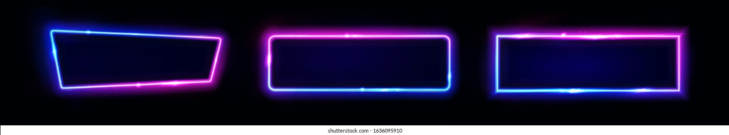 Neon rectangular signs, horizontal light banners set. Frames. Vector glow border shapes isolated on black background. Template for neon club or casino signs, glow banner, cover, poster. Illustration.