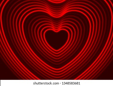 Neon red glowing laser heart shape abstract background. St Valentines Day vector greeting card