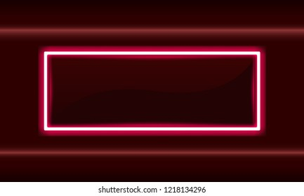 Neon red square frame, Electric light box banner