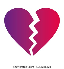 Neon red and ultra violet gradient  vector broken heart icon ideal for valentines day and wedding isolated on white