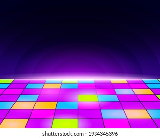 Neon retro dance floor background. Futuristic disco floor with purple tiles and yellow light blue electronic vintage with night sky vector horizon.