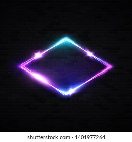 Neon rhombus background on black brick wall. Retro light lozenge sign with neon effect. Technology signage. Night club design. Glowing brill frame. Electricity diamond vector illustration in 80s style