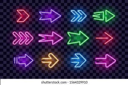 Neon Right Arrows colorful vector icons set. Realistic glowing pointers on transparent background. Location indicator for casino, bar, cinema, night club and motel, isolated symbols pack.
