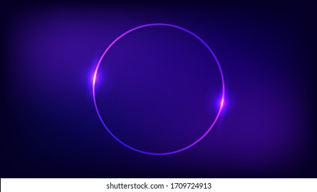 Neon round frame with shining effects on dark background. Empty glowing techno backdrop. Vector illustration.