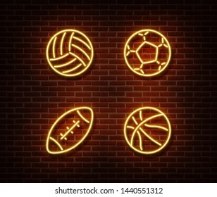 Neon rugby, soccer, basketball, volleyball balls sign vector isolated on brick wall. Sport balls light symbol, football decoration effect. Neon balls illustration.