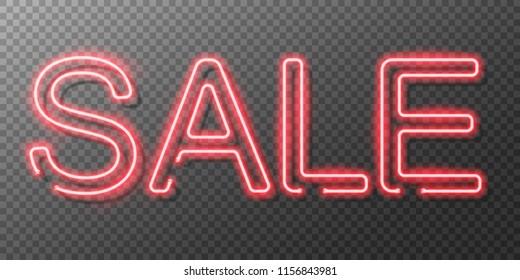 Neon sale sign. Vector illustration.