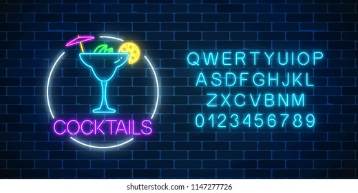 Neon sambuca cocktail sign in circle frame with alphabet. Glowing gas advertising with glass of alcohol shake. Drinking canteen banner. Night club invitation. Vector illustration.