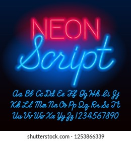 Neon script alphabet font. Blue color lowercase and uppercase letters and numbers. Stock vector typeface for your typography design.